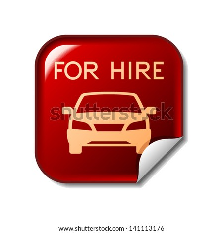 Car Hire Icon On Red Sticker Stock Vector 141113176 Shutterstock