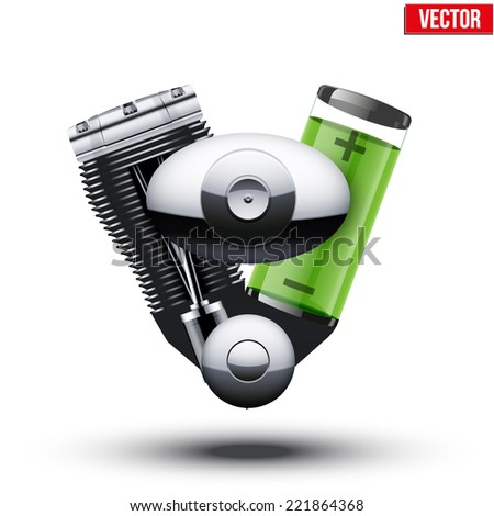 Car hybrid engine with battery and motor. Vector illustration isolated on white background. - stock vector