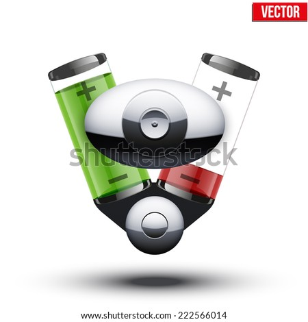Car hybrid engine with battery container. Fuel charge. Vector illustration isolated on white background. - stock vector