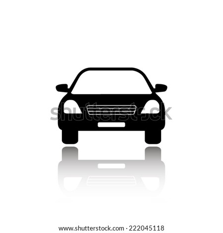 Car icon - black vector illustration with reflection - stock vector