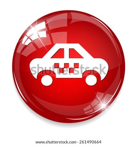 Car Icon Button - stock vector