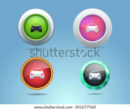 Car Icon/Button Set - stock vector