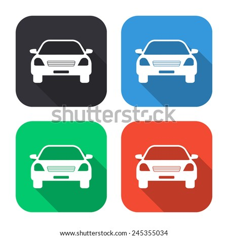 car icon - colored illustration (gray, blue, green, red) with long shadow - stock vector