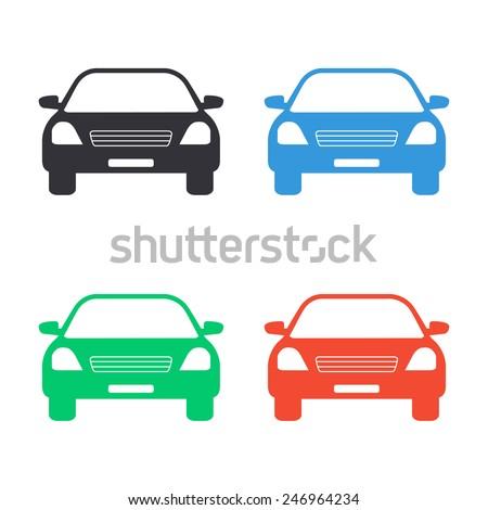 car icon - colored vector illustration - stock vector