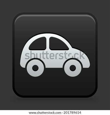 Car Icon on Black and White Button  - stock vector