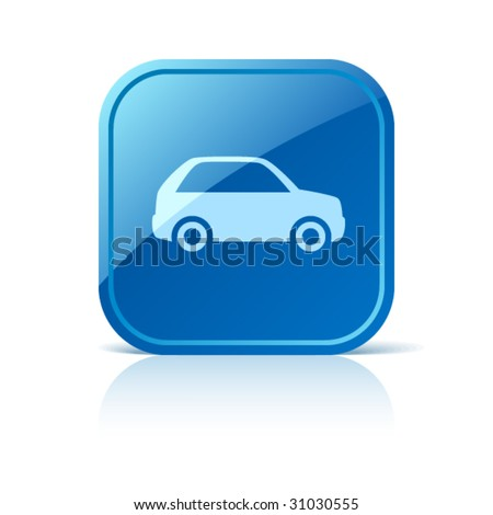 Car icon on blue glossy square vector web button