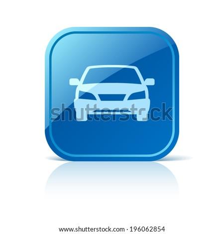 Car icon on blue web button - stock vector