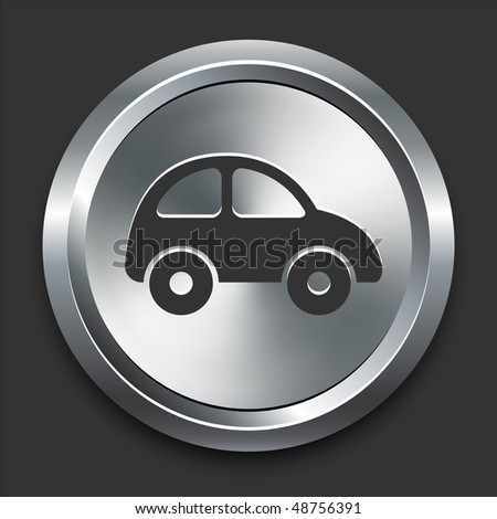 Car Icon on Metal Internet Button Original Vector Illustration - stock vector