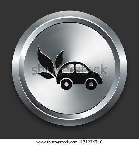 Car Icon on Metallic Button Collection - stock vector