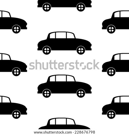 Car icon seamless pattern on white background. Vector illustration.