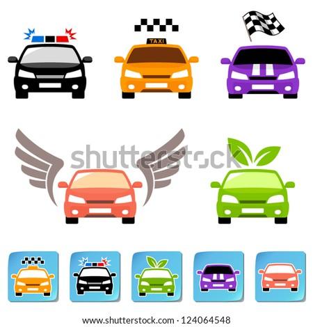 Car icon set - stock vector