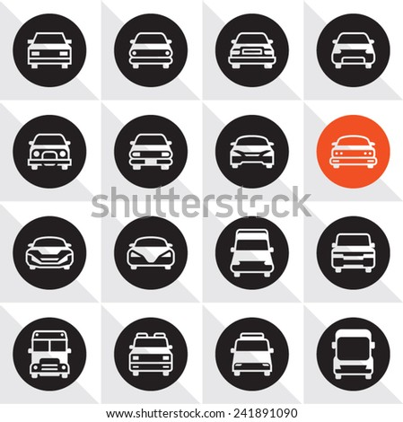 Car Icon Set. Cars front icons. - stock vector