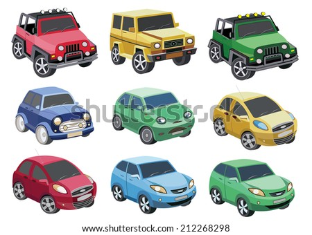 car icon set isolated on white (vector illustration) - stock vector