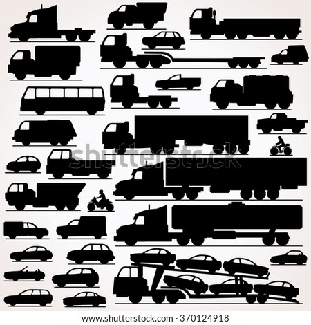 Car Icon Set. Side View Vector Silhouettes - stock vector