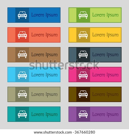 car icon sign. Set of twelve rectangular, colorful, beautiful, high-quality buttons for the site. Vector illustration - stock vector