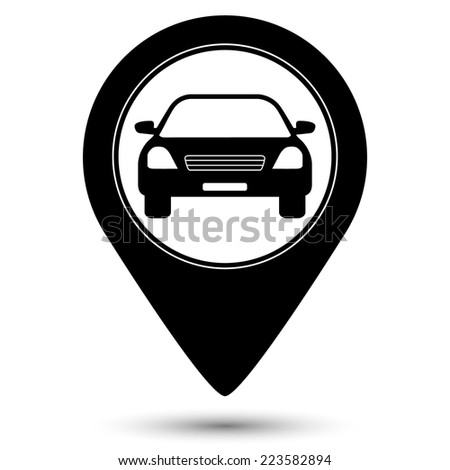 Car icon - vector map pointer - stock vector