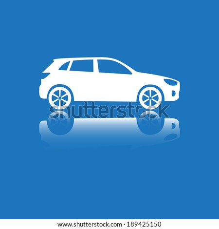 Car Icon. Vector silhouette. White on blue. - stock vector