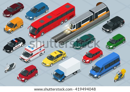 Car icons. Car Flat. Car 3d. Car isometric. Car city transport. Car icon set. Car van, Car cargo truck,  Car off-road, Car Transport set. Car isolated. Car freight transport. Car Car. Car police. Car - stock vector