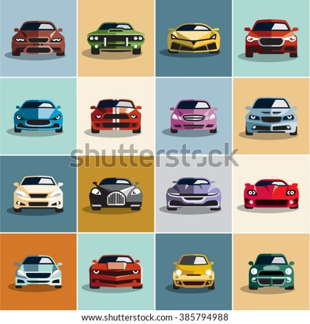 Car icons. Flat style car icons set 2.  - stock vector