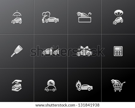 Car icons in metallic style - stock vector