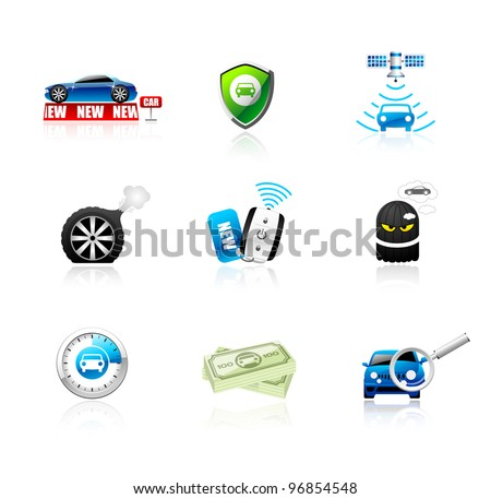 Car icons set. Different types of car topics including insurance, finance, service and sales. This illustration contains transparencies, AI10 EPS. - stock vector