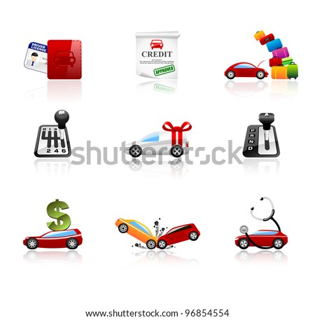 Car icons set. Different types of car topics including insurance, finance, service, sales and travel. This illustration contains transparencies, AI10 EPS. - stock vector
