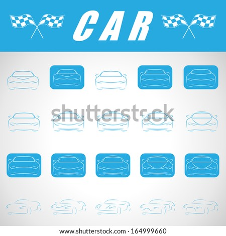 Car Icons Set - Isolated On Gray Background - Vector Illustration, Graphic Design Editable For Your Design