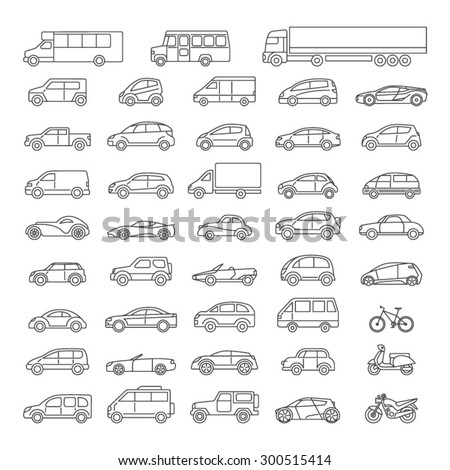 Car icons set. Linear style. Vector illustration. - stock vector