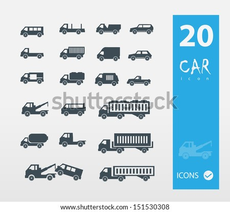 Car icons (set of 20 quality car icons ) - stock vector