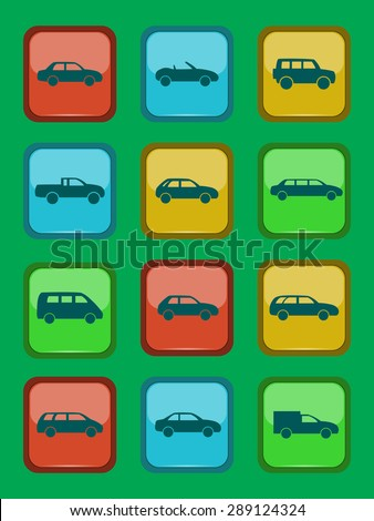 Car icons set on a colored button, vector illustration - stock vector
