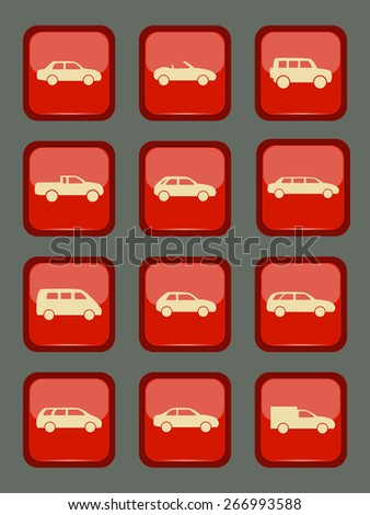 Car icons set on a red button, vector illustration - stock vector