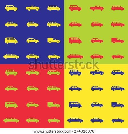 Car icons sets on a colored background, vector illustration - stock vector