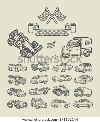 Car icons sketch. Cars and racing flag hand drawing style. Good use for website icons, symbol, illustration, or any design you want. Easy to use, edit, or change color.  - stock vector