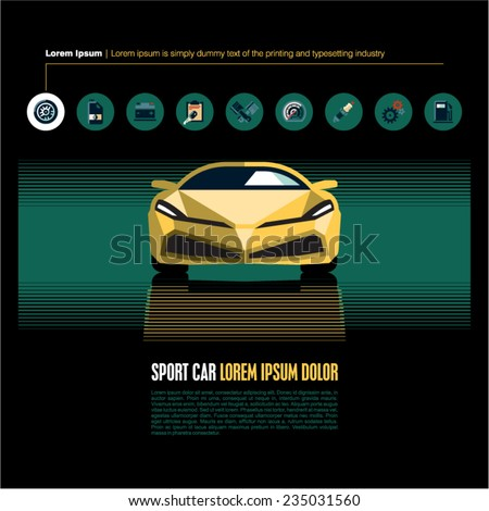 Car icons. Sport car vector background. - stock vector