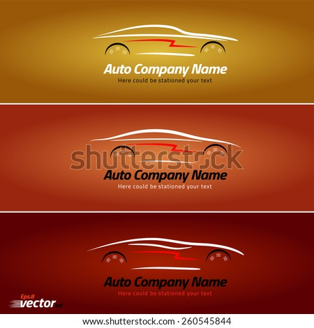 Car in the form of lines of silhouette. Car logo design. eps 8 - stock vector