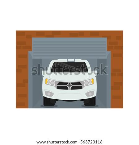 Car Inside Garage Icon Image Vector Illustration Design