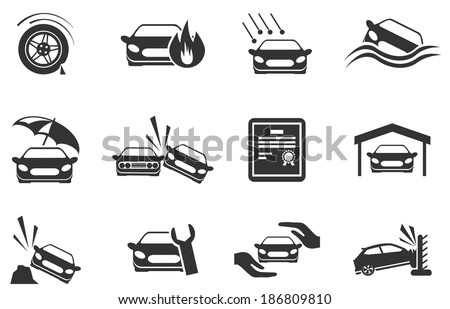 Car Insurance Icons - stock vector