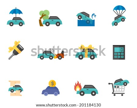 Car Insurance icons in flat color style - stock vector