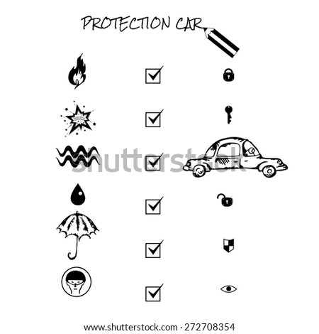 Car insurance icons set. Protection car illustration in doodle style. Cartoon cars. Different situations of car crash. Monochromatic image on white background. Eps 8 - stock vector