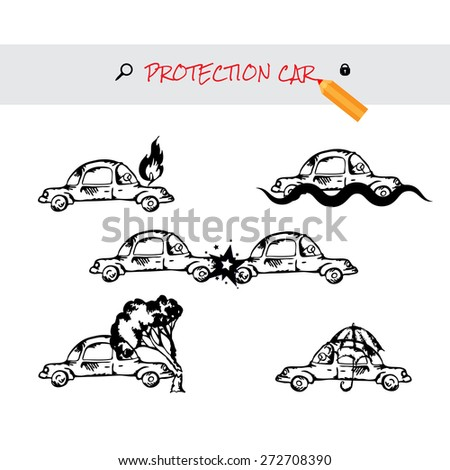 Car insurance icons set. Protection car image in doodle style. Monochromatic image on white background. Cartoon cars. Different situations of car crash. Car insurance - stock vector