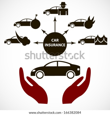 Car insurance modern realistic poster or background for insurance company - stock vector
