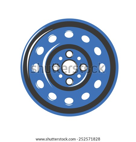 Car Iron wheels - stock vector
