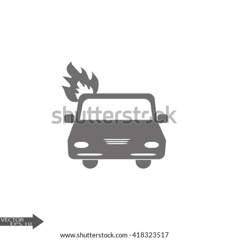 car is covered with fire and smoke. Car fired Icon Vector. Car fire