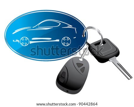 Car key ring with remote vector - stock vector