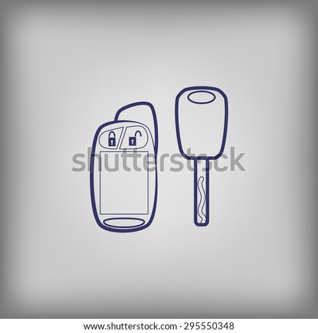 Car key with remote icon  - stock vector