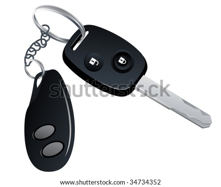 Car key with trinket, vector illustration, EPS file included - stock vector