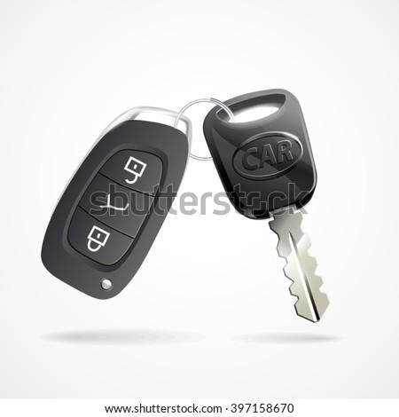 Car keys isolated on white photo-realistic vector illustration - stock vector