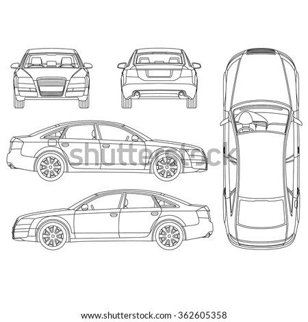 Car Line Art All View Four 362605358 on interior angles