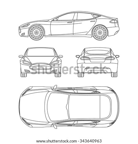 High Quality Car Line Draw Blueprint Front Four View Side Top Back All