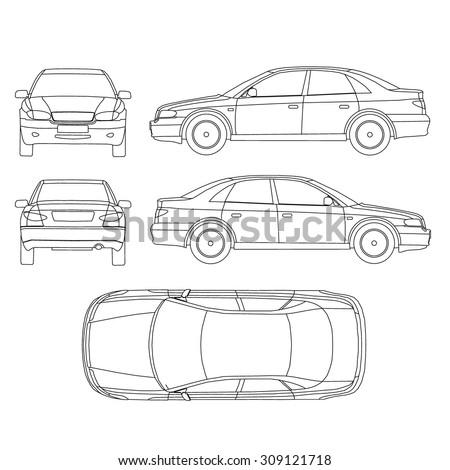 Car line draw insurance, rent damage, condition report form blueprint - stock vector